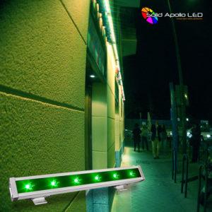 Illuminating the restaurant wall using green.