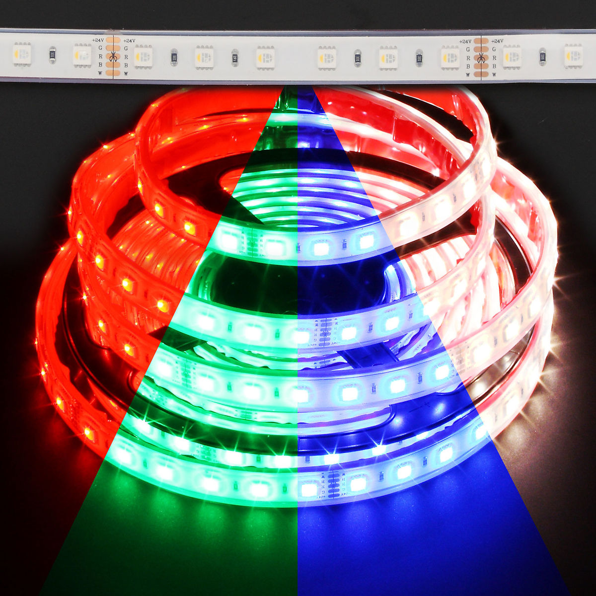 Color Changing Led Light Strips: Color Changing RGB Plus Daylight White Slim Waterproof