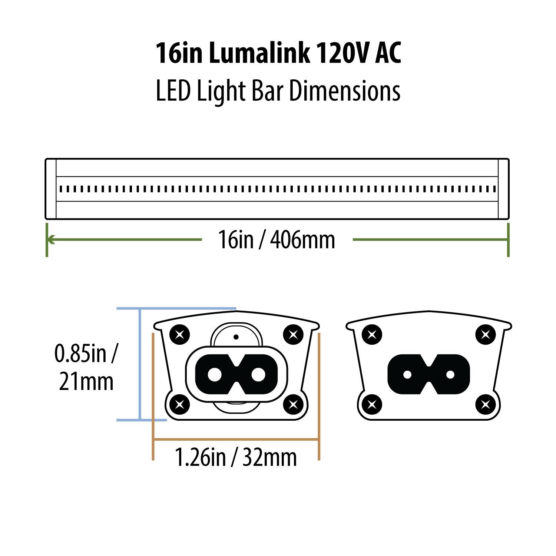 16in Lumalink Daylight White 120v Ac Led Light Bar