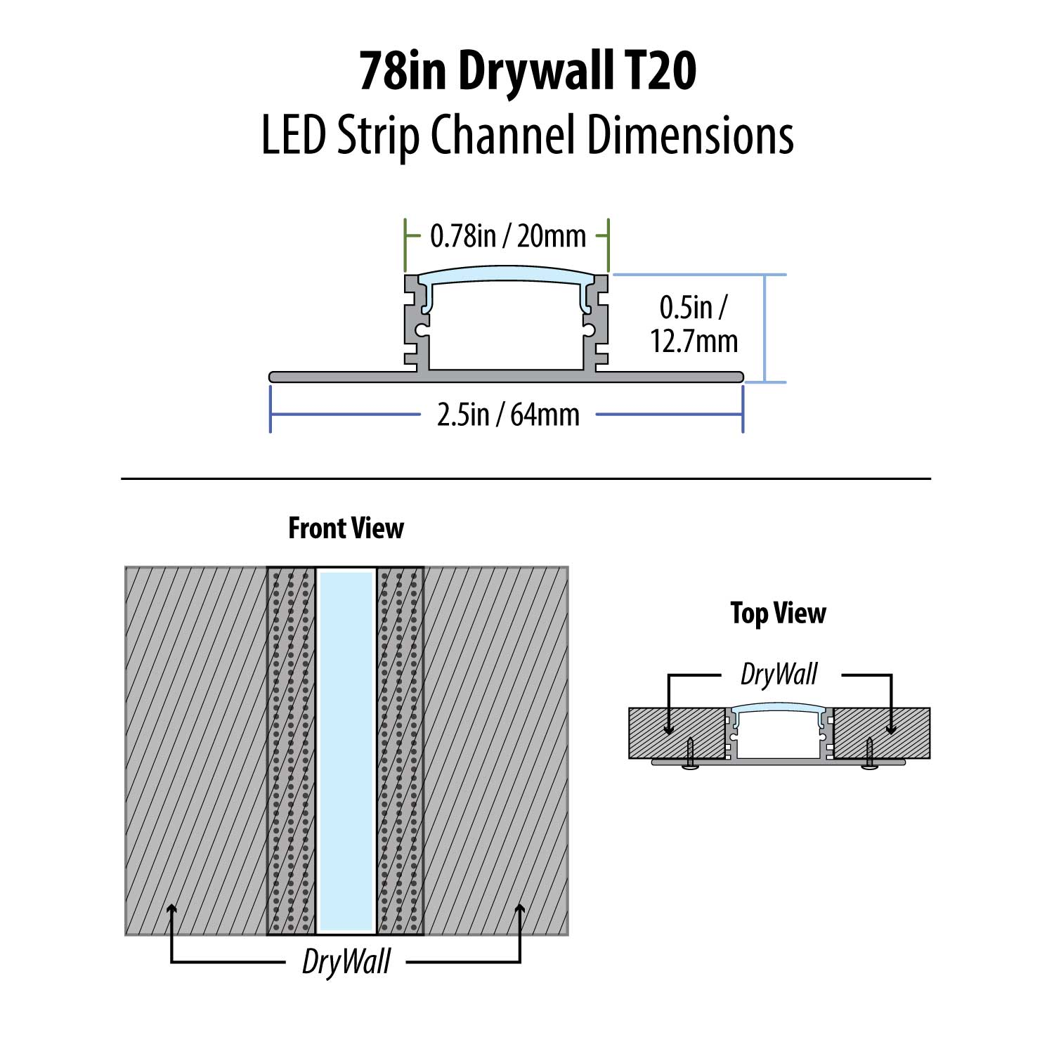 "78"" Drywall T20 LED Strip Channel"